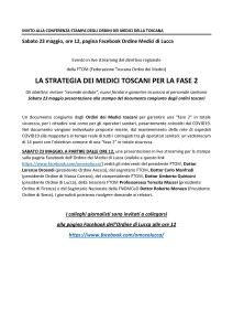 INVITO alla CONFERENZA STAMPA STREAMING FTOM 23 MAGGIO